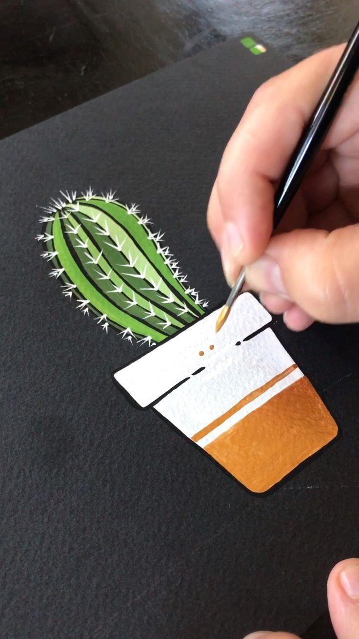 Kaktus in der Nacht – Gouache auf schwarzem Aquarellpapier durch Philip Boelter –