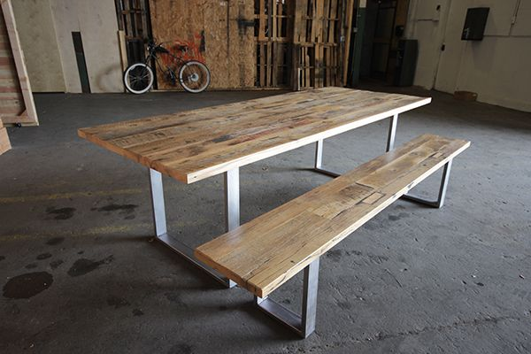 White oak reclaimed wood dining set by Saint Arbor, Los Angeles