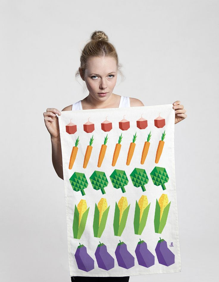 Veg tea towel from The Club of Odd Volumes via The Third Row. As seen in Inside Out Magazine.