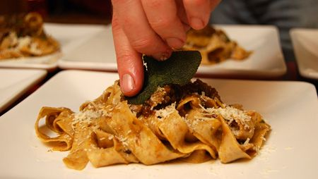 """Sugo D'Anatra – Wild Duck Ragu by Hank Shaw. """"Ideal accompaniment to this sauce is long pasta, such as tagliatelle, pappardelle or spaghetti"""". Great use of gizzards."""
