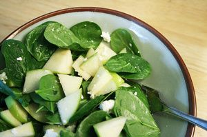 Fall French Dinner Party Menu: Spinach and Green Apple Salad Recipe