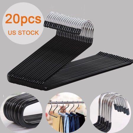 20 Pcs Open End Trouser Hangers,Premium Quality Black Non-Slip Metal Pants Hangers