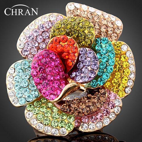 Chran Nuevo Colorido Rhinestone Cristalino de la Flor de Rose Anillos de Diamantes de Imitación Para Las Mujeres de Joyería de Moda Mejor Parte Regalos