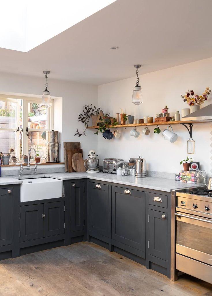 Hand Blown Glass Pendant Lights In This Beautiful Dark Grey Modern Country Kitchen Shakerki Modern Country Kitchens Modern Kitchen Design Grey Shaker Kitchen