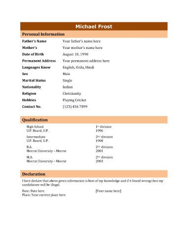 The 25+ best Biodata format download ideas on Pinterest Biodata - standard resume format download