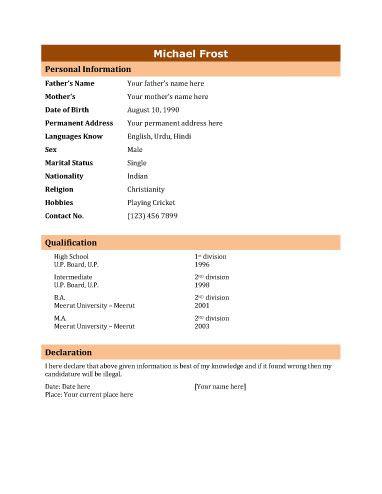 Best 20+ Biodata format download ideas on Pinterestu2014no signup - free download biodata format