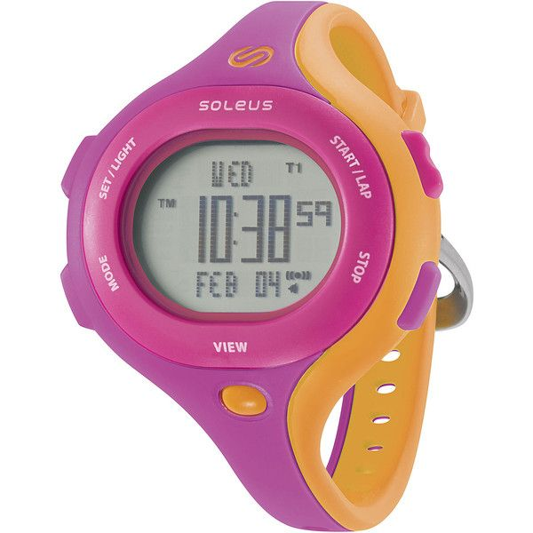 Soleus Chicked Womens Pink and Orange Digital Running Watch ($44) ❤ liked on Polyvore featuring jewelry, watches, no color, orange dial watches, orange jewelry, training watches, pink digital watches and buckle watches