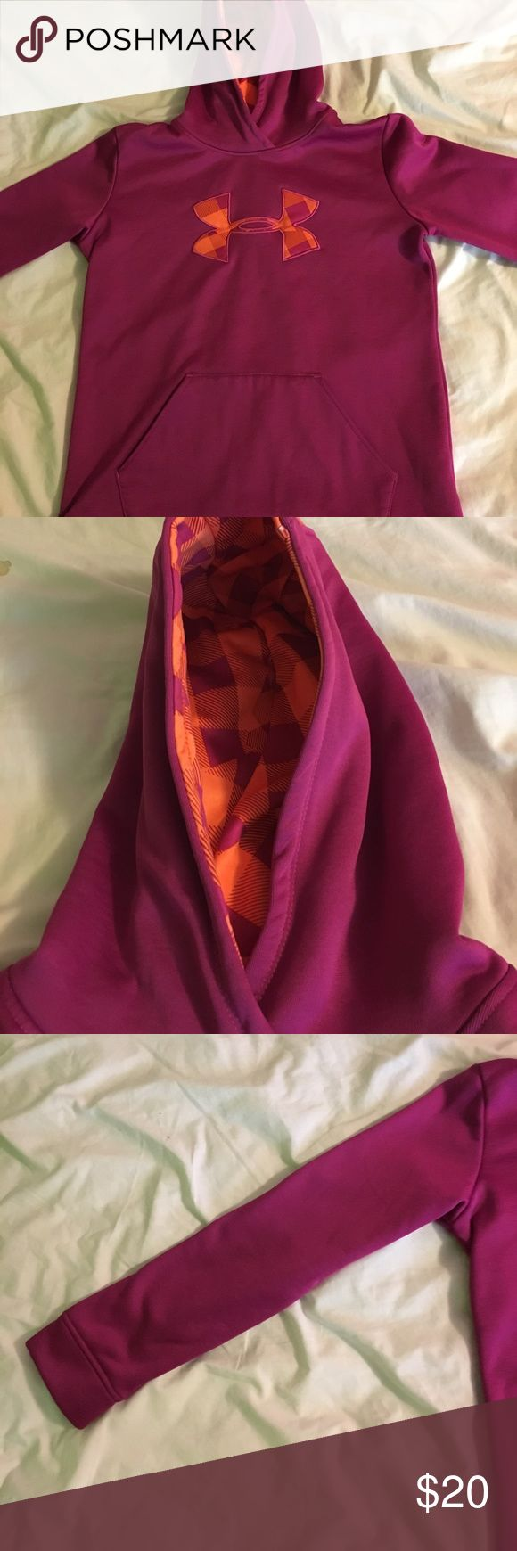 Under Armor hoodie A purple and orange under armor pullover hoodie. Girls size youth large. In great condition!!! Under Armour Jackets & Coats
