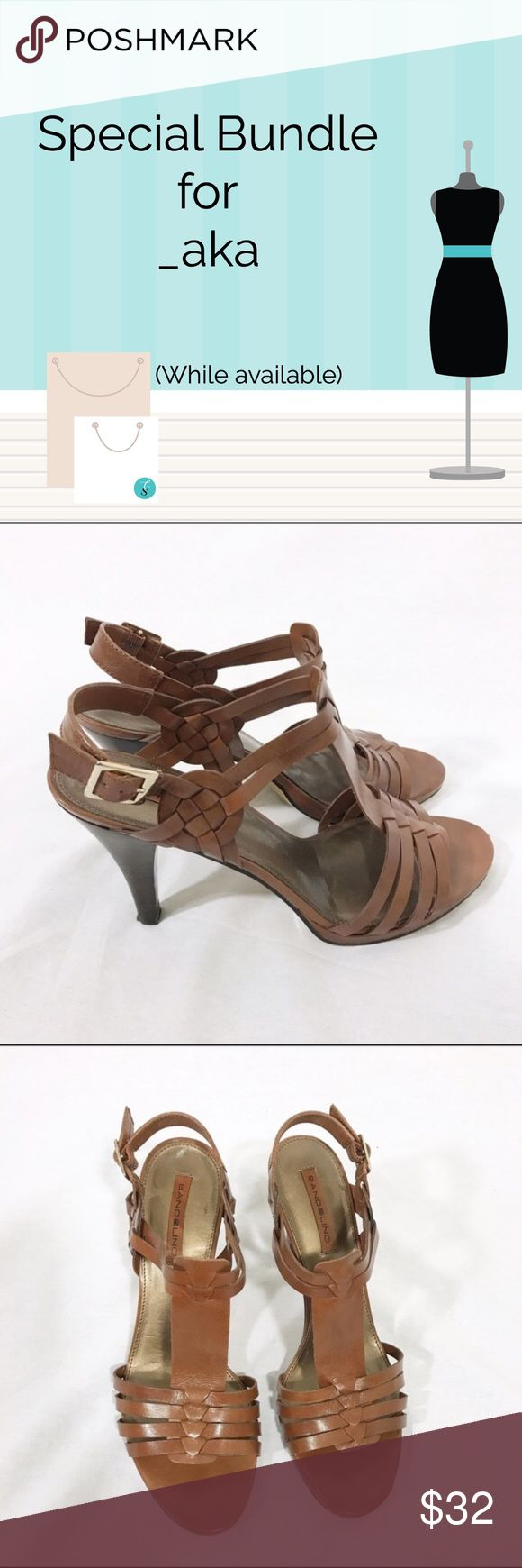 """Bundle: Bandolino Brown Sandals; Old Navy Blouse 1. Bandolino Brown Leather Strappy High Heel Sandals Beautiful pair of Bandolino brown leather strappy high heels. Heel height 4"""".   Size 9M     Excellent pre-owned condition. Little sign of wear around front.   2. Old Navy Nautical Blue White Striped Sheer Blouse This blouse will have ready to embark on a spring adventure. Blue and white stripes. Button down chest area. Material: 100% Polyester.  Size L  Measurements Armpit to armpit 20.5""""…"""