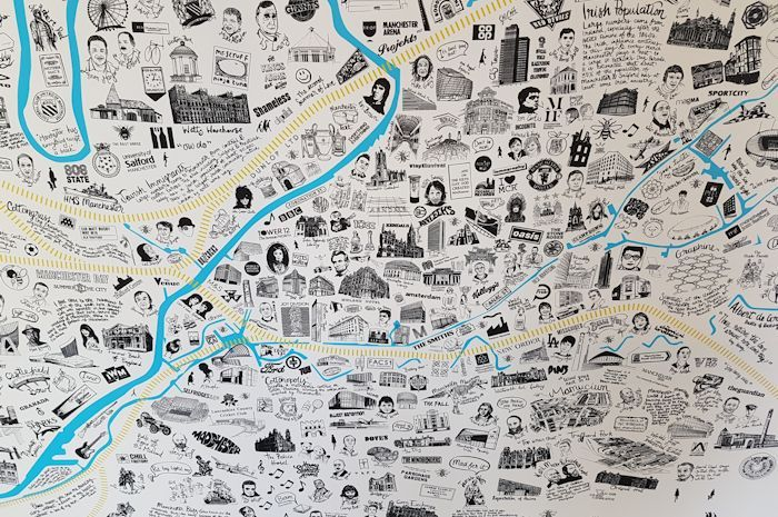 The Manchester office of one of the UK's top independent planning and design consultancies, Barton Willmore, unveiled a unique hand-illustrated map of Manchester at their 80th anniversary celebrations.  The giant canvas features over 500 illustrations of Manchester's famous culture, people