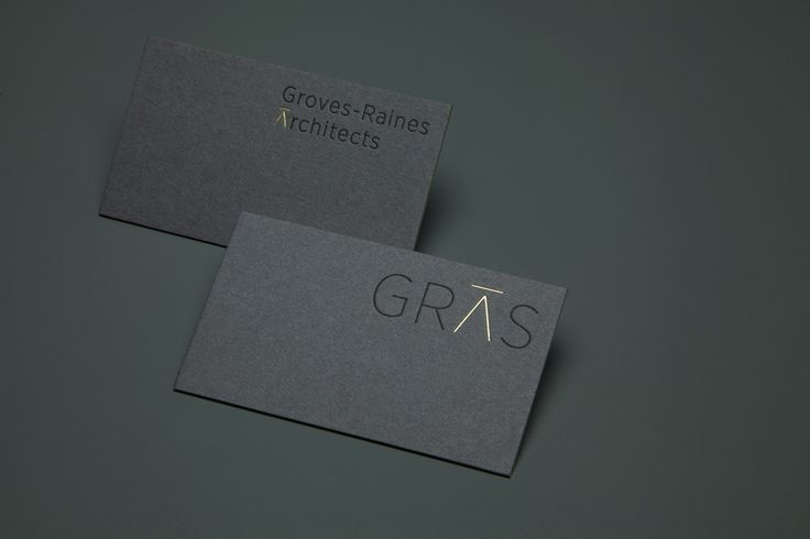 Gold foiled business cards for Edinburgh based Gras and Groves-Raines Architects designed by Graphical House