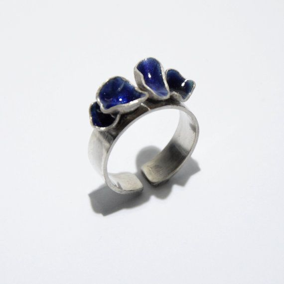 Violet shell enamel ring by JRajtar on Etsy