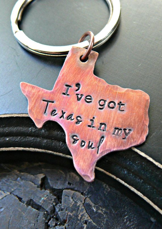 Hand Stamped State Texas Keychain  Texas by yourcharmedlife