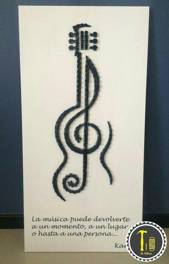 Guitar/treble clef string art