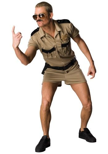 The Lt. Dangle costume proves that all you need to be a cop is some short shorts, a mustache and a can do attitude.