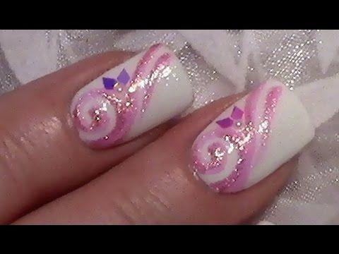 Rosa Glitter Schnörkel Nageldesign / Fingernägel lackieren mit Nagellack...