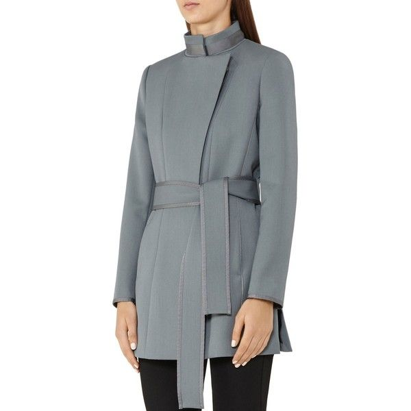 Reiss Lucy Belted Short Coat ($340) ❤ liked on Polyvore featuring outerwear, coats, moss, belted coat, reiss coats, short coat, reiss and coat with belt