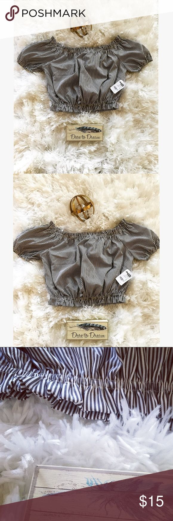 "🦋NEW CHARLOTTE RUSSE Crop Top Size XS🦋 ""Oh my Crop Top"" said the pretty young lady lol! Wow! How about a brand new Charlotte Russe Crop Top size XS. If you are a size small or medium you will fit into this because this crop top stretches. It comes with its tags and is super comfortable. It's part of the Summer & Fall Collection. It's white and dark blue striped. Don't forget to bundle up on more than 4 items and receive a discount. If you're looking for something particular and don't see…"