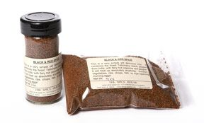 Black and Red Spice is what you get when you cross Cayenne with Black Pepper. This is an all around great salt-free blend to add a little zip to just about anything. Its simple yet flavorful mix combines the best Tellicherry black pepper (ground fresh here weekly) with potent cayenne red pepper.