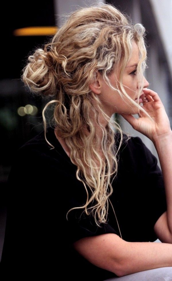 Messy Half Up Braided Hairstyles Scrunched Fishtail in the Back
