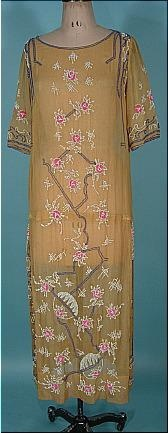 """c. 1923/1924 Beaded """"Flapper"""" Dress of Light Saffron Colored Fine Cotton Netting with Floral Oriental Deco Beading"""
