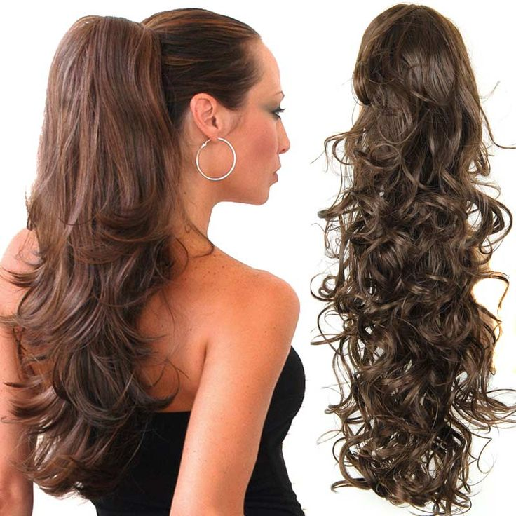 """20"""" Long Fake Hair Ponytails Sex Apply Hair Extension Synthetic Claw Drawstring Hairpiece False Hair Pony Tail Tress Hairpieces"""