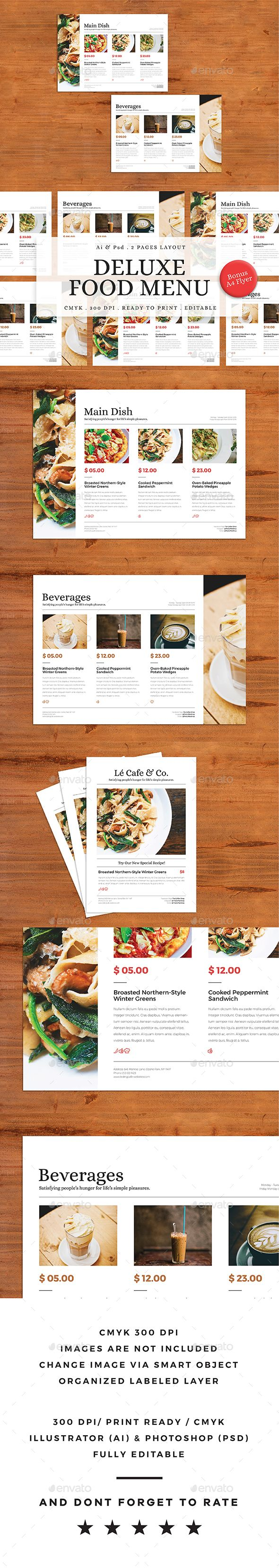 Deluxe #Food Menu + A4 Flyer Menu - Food #Menus Print #Templates Download here: https://graphicriver.net/item/deluxe-food-menu-a4-flyer-menu/19576618?ref=alena994