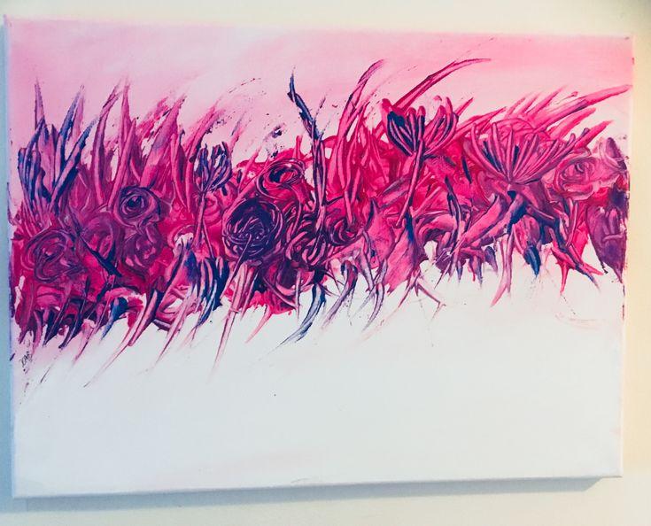Melange of flowers in acrylic by Kathy Beddow, January 2018