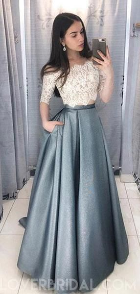 Incredibly Two Pieces Half Sleeve Lace Grey Long Evening Prom Dresses, Cheap Sweet 16 Dress…
