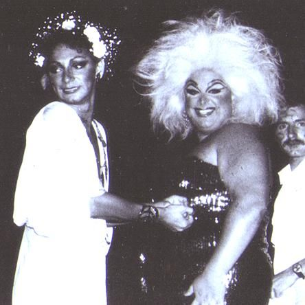 Holly Woodlawn and Divine at a pagan party in Provincetown during The Neon Woman. Photo: Ron Link