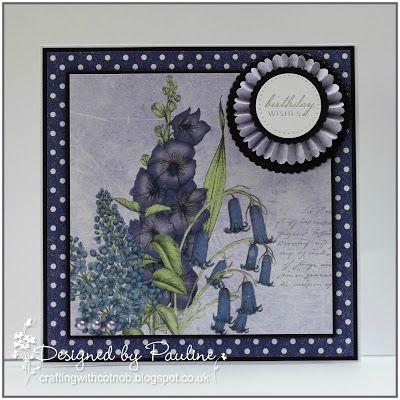 Crafting with Cotnob. Craftwork Cards, Craftwork Cards Ultra Violet Flora, Floral, Spellbinders, Tim Holtz Paper Rosette Die