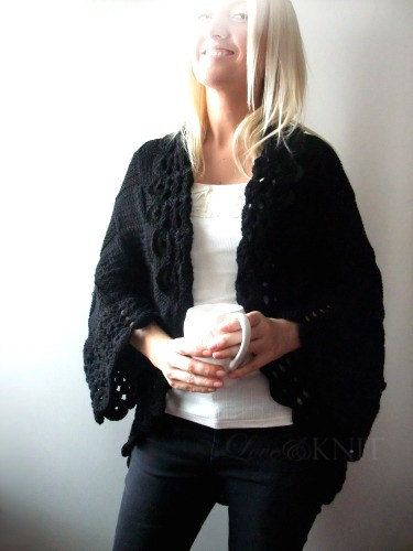 Big Black Cardigan by LoveandKnit on Etsy, $110.00