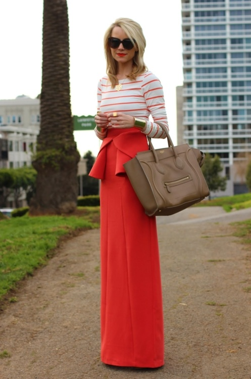 bright maxi skirt and long sleeve = perfect to brighten up a dingy day! bon-chic