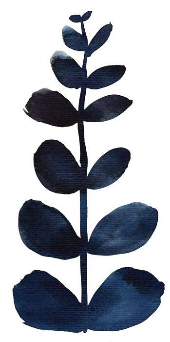 indigo blue leaf design