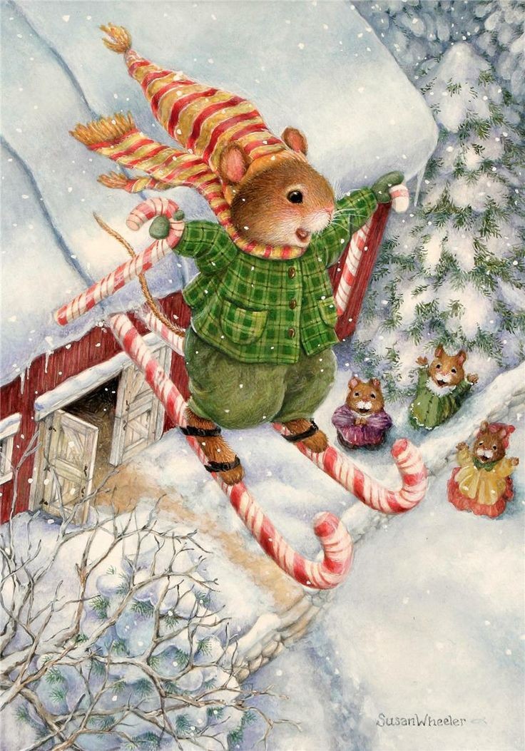 Новогодняя открытка художники, картинки мама малыш