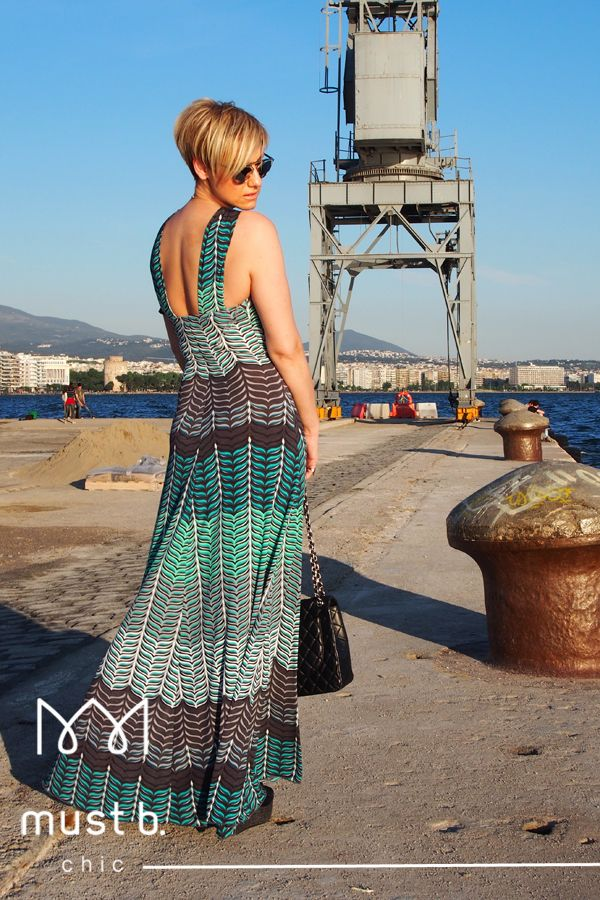 Colored long dress with geometrical patterns SS2015
