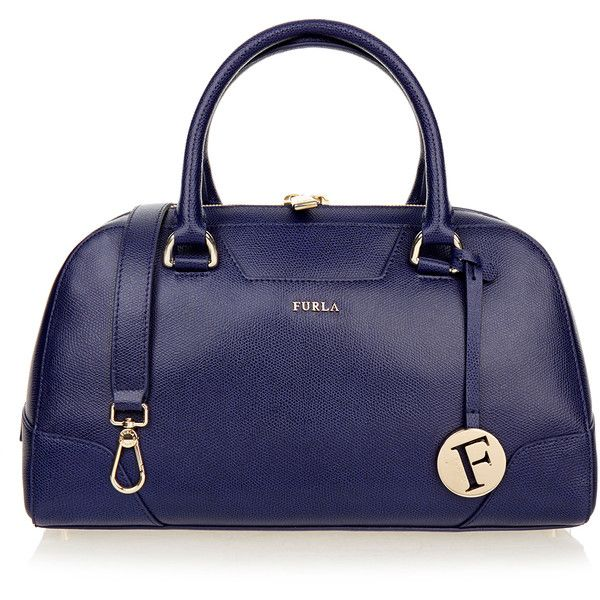 Furla Dolly Navy Pebbled Leather Handbag featuring polyvore, women's fashion, bags, handbags, shoulder bags, purses, сумки, neutrals, furla purses, blue purse, navy blue shoulder bag, handbags purses and blue shoulder handbags