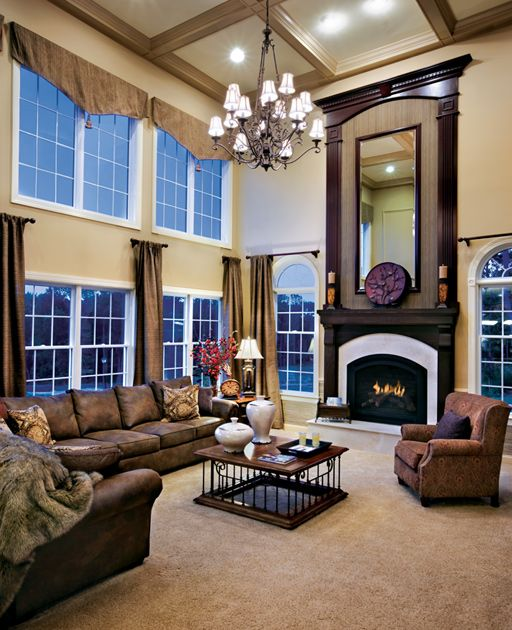 25 Best Ideas About Toll Brothers On Pinterest: 2 Story Family Room. Like Coffered Ceiling And Molding On