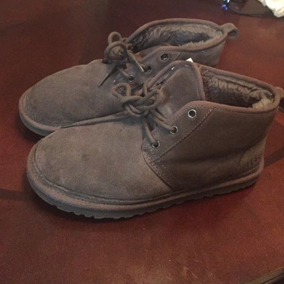 Grey men uggs size 8 Worn plenty of times , grey and doesn't come with the original box . UGG Shoes Lace Up Boots