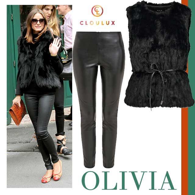 Olivia Palermo in einer stylishen Fellweste zu Lederhosen