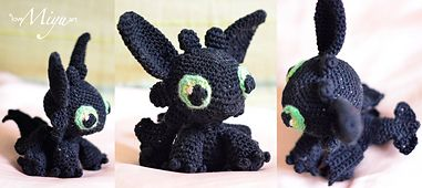 "A free pattern for a crocheted Toothless amigurumi. Toothless is a Night Fury dragon from Dreamworks' movie ""How To Train Your Dragon."""
