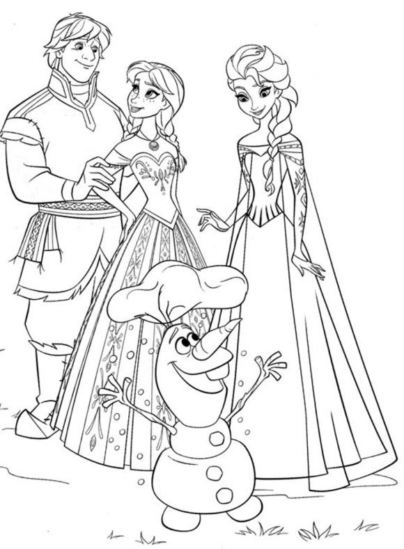 Olaf Kristoff Anna Elsa Free Frozen Coloring Page