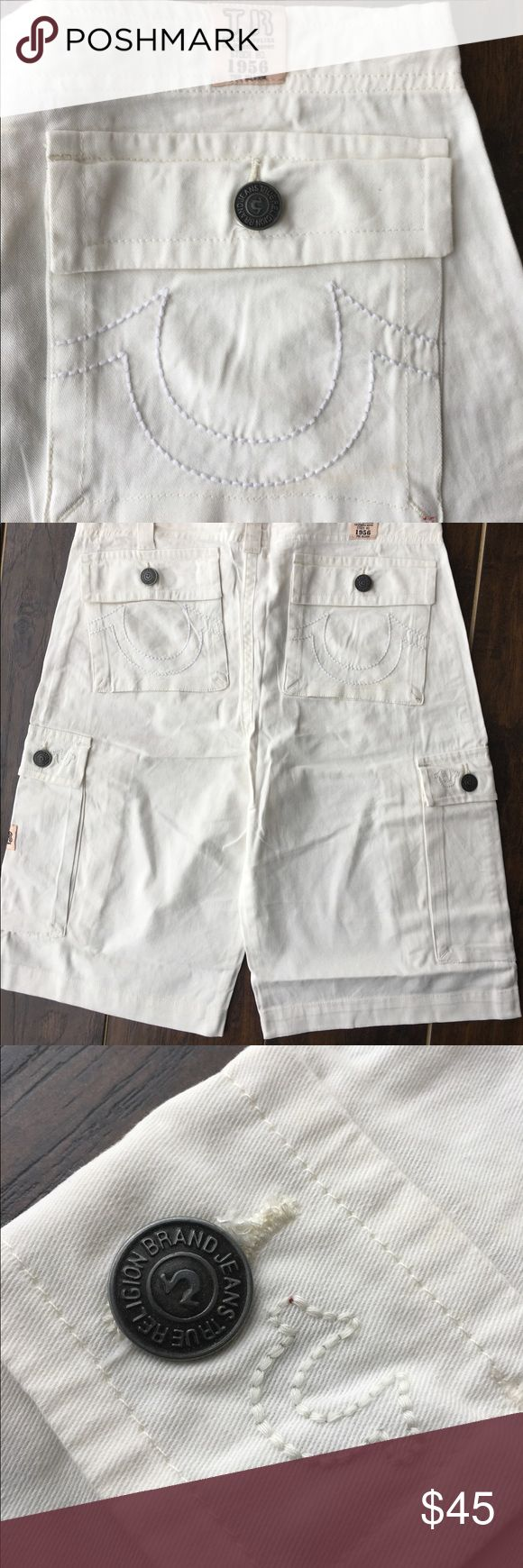 New Men's True Religion White Cargo Shorts Brand new with tags. Roomy pockets with drawstring closure. Great for summer parties. True Religion Shorts Cargo