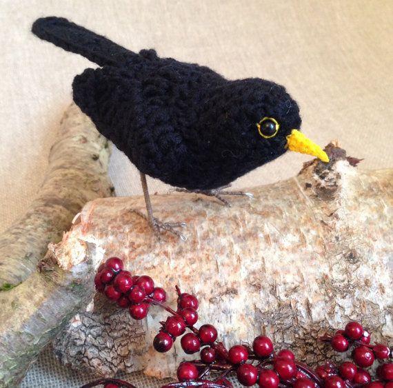 Blackbird crochet bird sculpture by FreshlyKnittedThings on Etsy