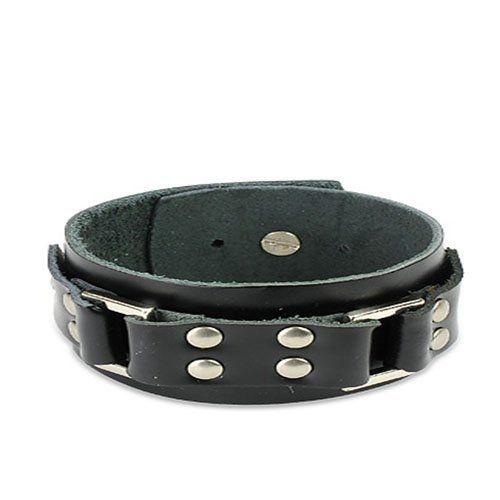 """Black Leather Steel Buckle Bracelet Wristband Cuff K18 blue palm jewerly. $14.99. 8.27"""" length. Steel Buckle. leather bracelet. 0.39"""" width"""