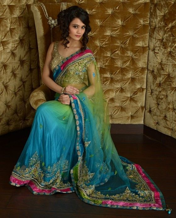 peacock blue and lime green sari