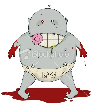 Bloody zombie baby. Tim Burton fan here but really? As stock art?