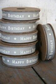 Lint Happy Birthday grijs | Stationary / Masking tape / lint | Label 123