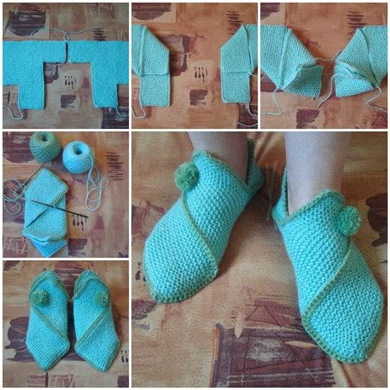 Cozy Knitted Home Slippers --> http://wonderfuldiy.com/wonderful-diy-knitted-home-slippers/ #diy #knit #slippers