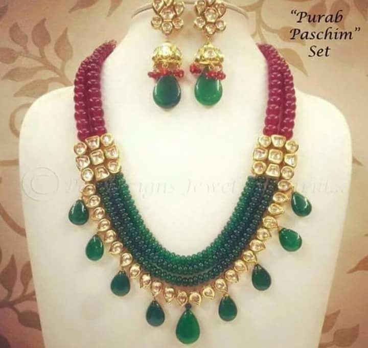 A necklace is an article of jewellery which is worn around the neck. Necklaces are frequently formed from a metal jewellery chain. Others are woven or manufactured from cloth using string or twine.